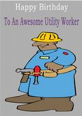 Utility Worker - Greeting Card